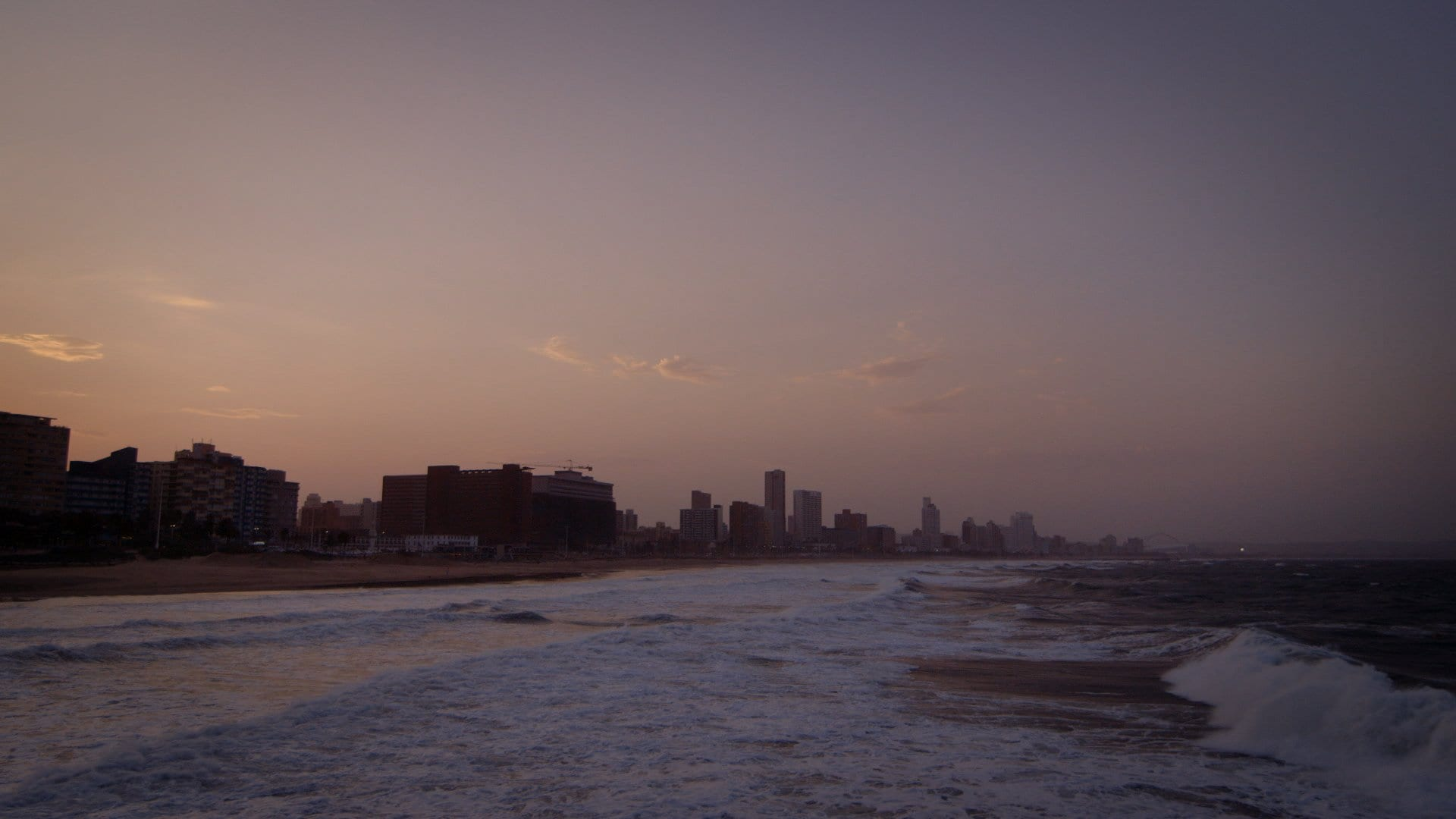 A shot of the skyline in Durban at sunset